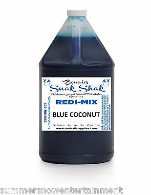 Snow Cone Syrup Blue Coconut Flavor. 1 Gallon Jug Buy Direct Licensed Mfg