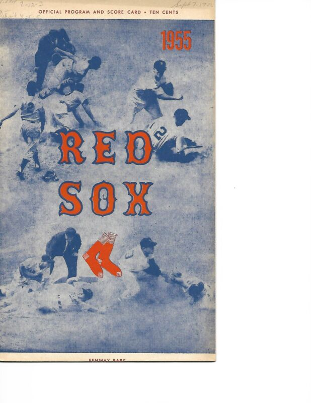 1955 Boston Red Sox-Tigers Program White Hatton Pace Sox Win GEM!!