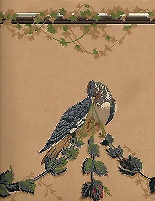 K & W Victorian Rose Draping with Birds on Dark Tan-Extra Wide WALLPAPER BORDER