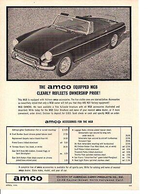 1964 MGB MG B AMCO Parts Original Advertisement Print Art Car Ad YEL12