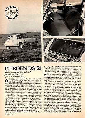 1966 CITROEN DS-21  ~  NICE ORIGINAL 4-PAGE ROAD TEST / ARTICLE / AD