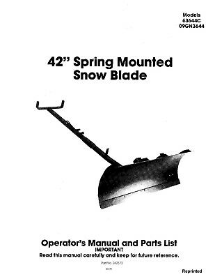 New Holland Ford Se4514 42 Inch Spring Mtd Snow Blade Operators Manual