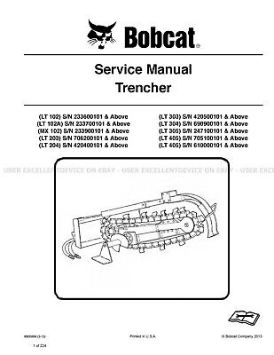 Bobcat Trencher Revision 2013 Printed Service Manual 6900899