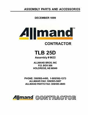 Allmand Tlb 25d Assembly Parts And Accessories Manual Booklet
