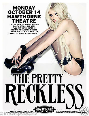 THE PRETTY RECKLESS 2013 PORTLAND CONCERT TOUR POSTER-Taylor Momsen In Stockings - $12.99