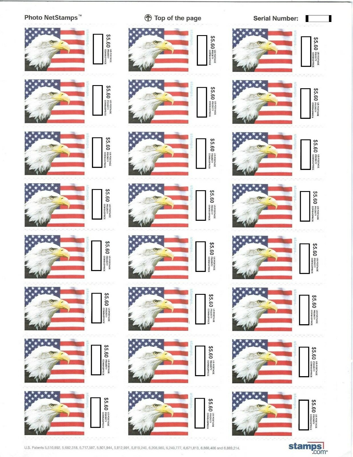 USPS $5.60 Priority Stamps Postage 24/sheet Face Value $134.40 Ships Priority!!!
