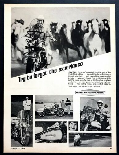 1966 Harley-Davidson Electra Glide Motorcycle photo Horse Stampede print ad