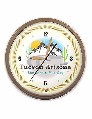 Tucson Arizona Neon Wall Clock Hand Made USA 20 Inch Desert Mountains Cactus -