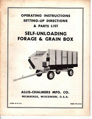 Allis Chalmers Operating Instructions Self- Unloading Forage Grain Box M544