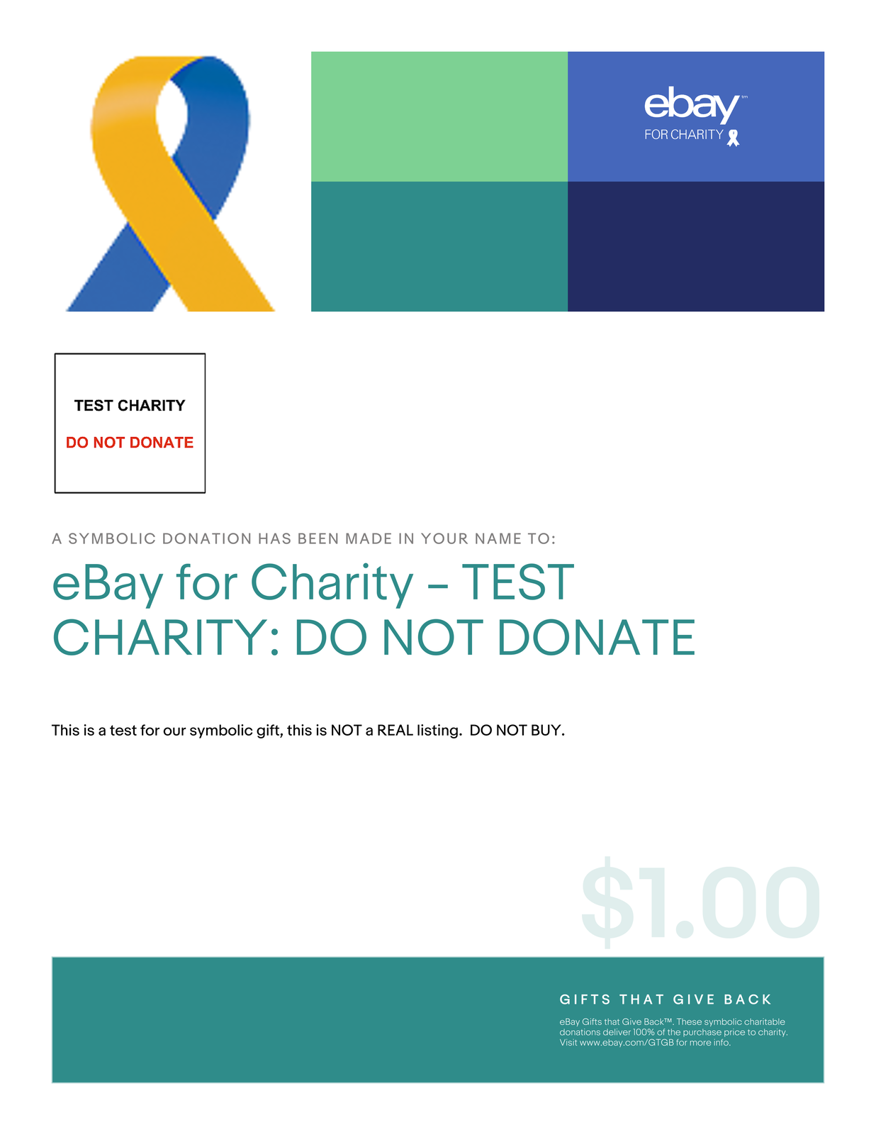 Details about $1 Charitable Donation For: Charity TEST, Please don't  purchase