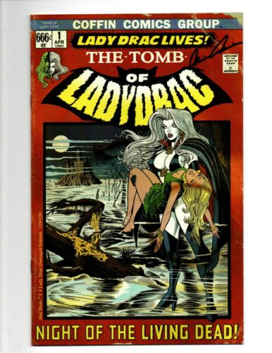 Lady Death Homage Tomb Of Ladydrac Hot Shots #1 NM+ signed c/o Dracula Coffin