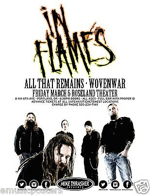 IN FLAMES / ALL THAT REMAINS 2015 PORTLAND CONCERT TOUR POSTER-Heavy Metal Music - $10.99