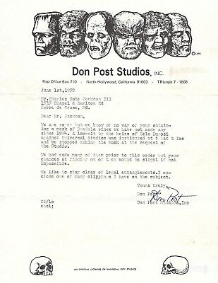 Don Post signed letter dated June 1, 1972