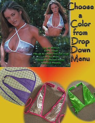 Detach Neck String Lycra 1960s Style Halter Top V-Neck Outfits Dancer Versatile