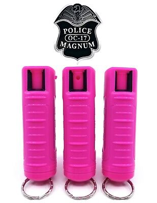3 PACK Police Magnum pepper spray 1/2oz Hot Pink Molded Keychain Security