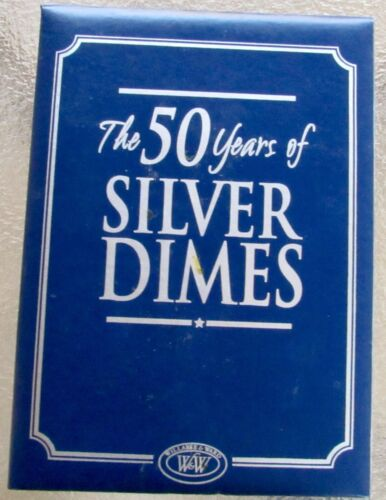 THE 50 YEARS OF SILVER DIMES COLLECTION SILVER BARBER SILVER MERCURY & ROOSEVELT