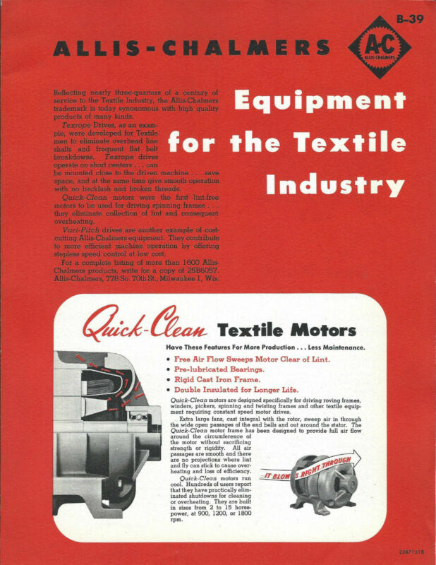Equipment Brochure - Allis-Chalmers - Textile Industry - c1950
