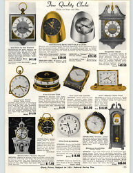1962 PAPER AD Florn Cylinder Clock Spartus Wall Clocks Skillet Kitchen
