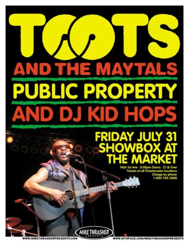 TOOTS AND THE MAYTALS 2009 Gig POSTER Seattle Concert Washington