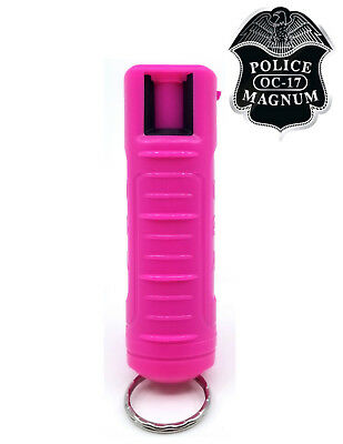 Police Magnum pepper spray .50oz hot pink molded keychain self defense security