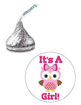 216 ITS A GIRL PINK OWL BABY SHOWER HERSHEY KISS KISSES CANDY STICKERS ** (Pink Owl Baby Shower)