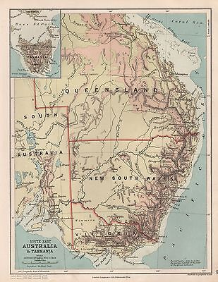 1889 ANTIQUE MAP SOUTH EAST AUSTRALIA & TASMANIA