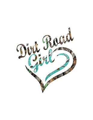 Teal and Camo Dirt Road Girl     Decal  Sticker