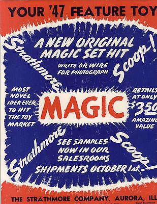 1947 PAPER AD Strathmore Co Magic Sets Aurora Ill Toy Play Mickey Mouse Cover