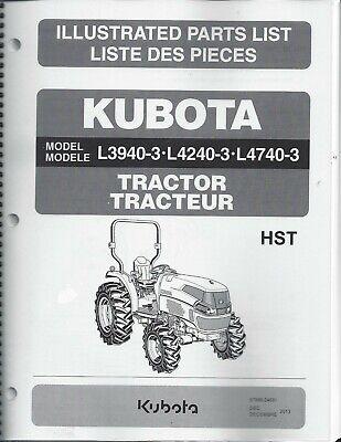 Kubota L3940-3 L4240-3 L4740-3 Tractor-no Cab Parts Manual 97898-24681