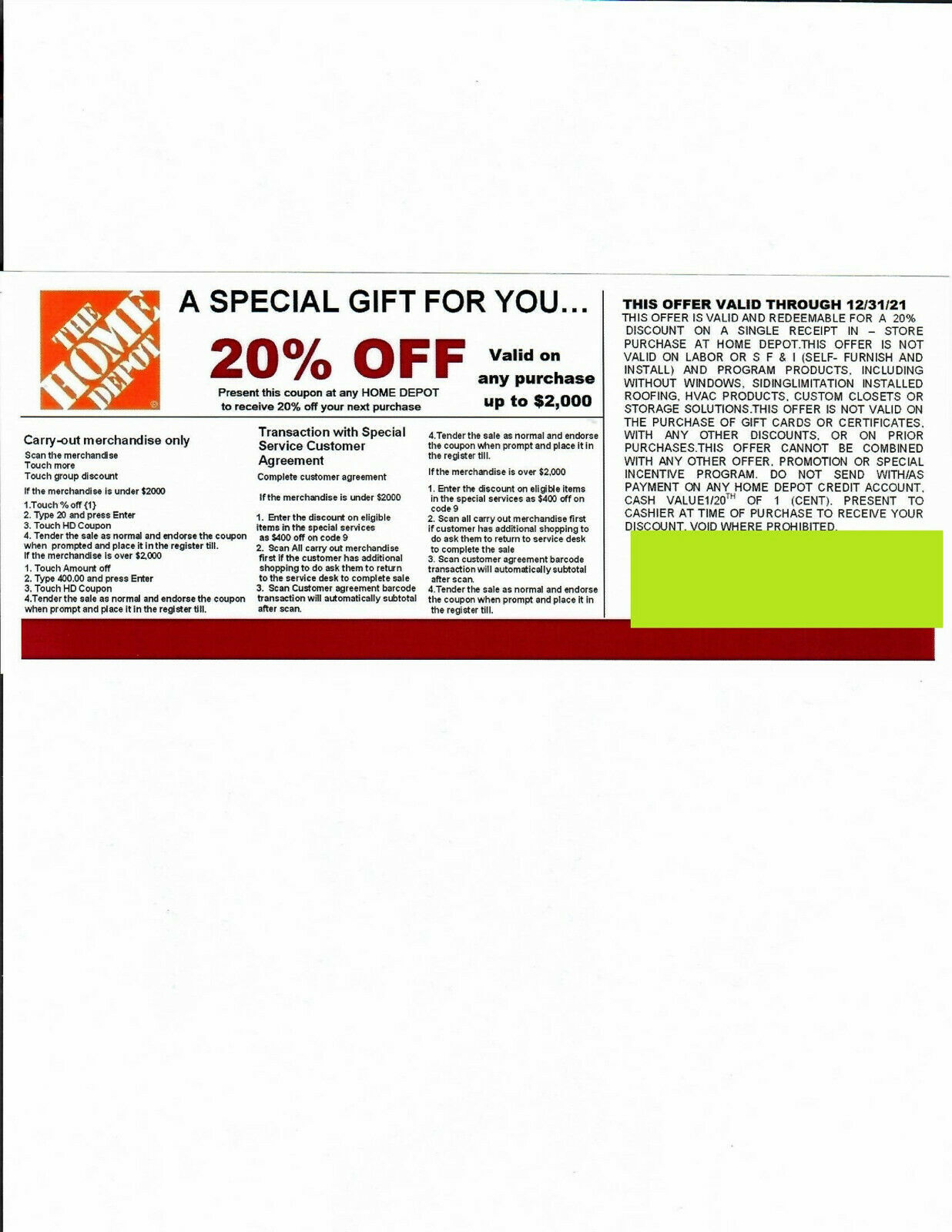 --2-- 20 OFF HOME DEPOT Competitors Coupon ---- Expires----- 12/31/21  - $10.00