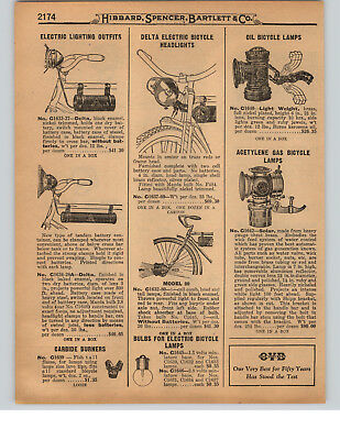 1927 Paper Ad Solar Acetylene Gas Oil Bicycle Lamp Delta Electric Bells Mascot