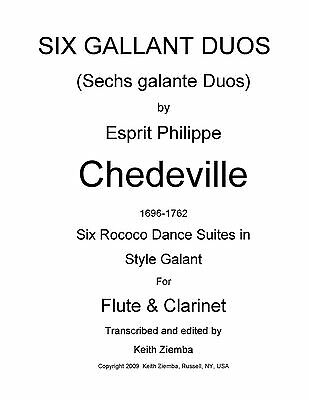 Flute & Clarinet Duets 6 Gallant Duos by Chedeville Rococo 6 Dance Suites NEW Flute Clarinet Duets