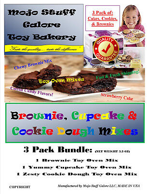 Mojo's Easy Bake Oven Refills - Cookie Mix, Cake Mix, and Fudge Brownie BUNDLE