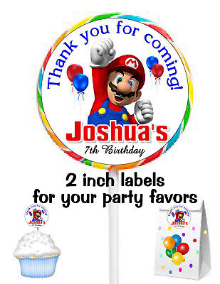 20 SUPER MARIO BIRTHDAY PARTY FAVORS STICKERS LABELS for lollipops ~ goody bags - Mario Birthday Party