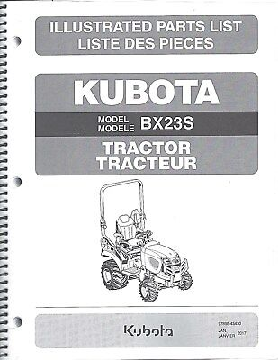 Kubota Bx23s Tractor Illustrated Parts Manual 97898-43430