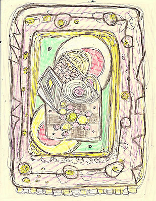 Expressionist Pastel on Paper Abstract Outsider Art Brut Modern Pop Art design