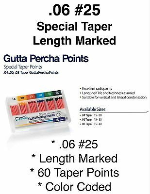 .06 25 Special Taper Length Marked Gutta Percha Endodontic Qty 60 Points