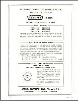 Sears Craftsman 12 Lathe 101.27580 -90 101.28930 -40-50-70 W-qc Manual Cd