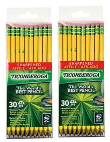 Ticonderoga Wooden Pencils No. 2 Soft Lead ~ 30 Count Pack X2  ~ 13830