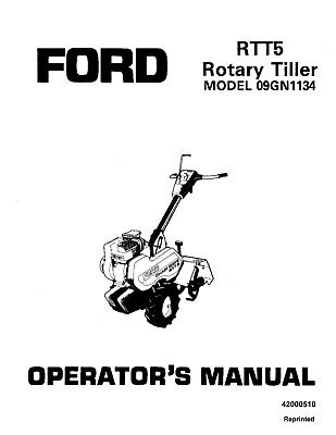 New Holland Ford Se3770b Rtt5 Rear Tine Tiller 09gn1134 Operators Manual