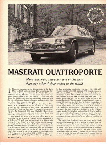 1968 MASERATI QUATTROPORTE ~ ORIGINAL 4-PAGE ROAD TEST / ARTICLE / AD