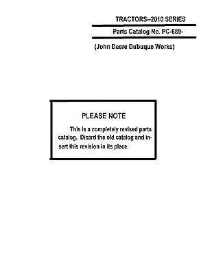 John Deere 2010 Tractor Parts Catalog Book Reproduction