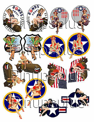 WWII Pinup Model Building RC Plane Nose Art Waterslide Decal Sticker 8 pair #331