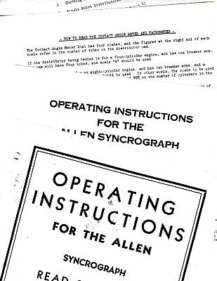 Allen Syncrograph Vintage Instruction Operating Manual Re