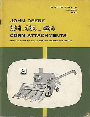 John Deere 334, 434, and 634 Corn Head Combine Original Owner's Manual