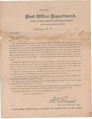 Rare 1880S Us Post Office Department Flier On Postmasters Pay