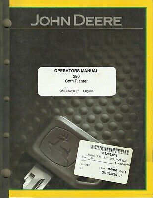 John Deere Corn Planter 290 Omb25260 J7 Tractor Operators Manual