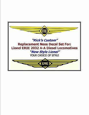 """2032 Erie Lionel Nose Decals (Water Slide) """"Repro"""""""