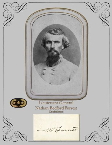 Civil War Photo and Autograph card COPY  Lt. General Nathan Bedford Forrest