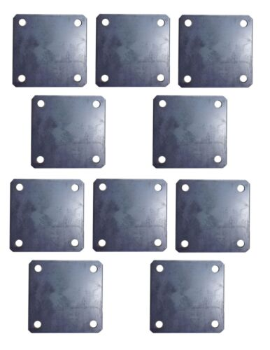 """(10x) 4"""" inch square metal base plate with 3/8 holes - weld on post"""